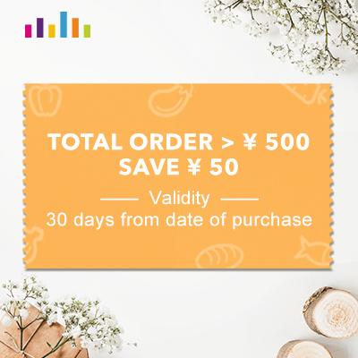TOTAL ORDER > ¥ 500 SAVE ¥ 50