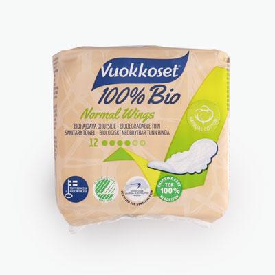 Vuokkoset Natural Cotton Sanitary Pads x12
