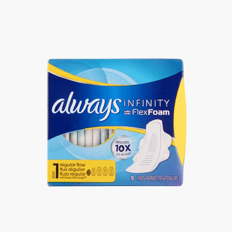 Always,' Infinity' Pads with Flex Foam Wings (Regular Flow, Unscented) x18