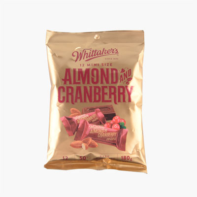Whittaker´s  Mini Almond and Cranberry Dark Chocolate 180g(12pc)