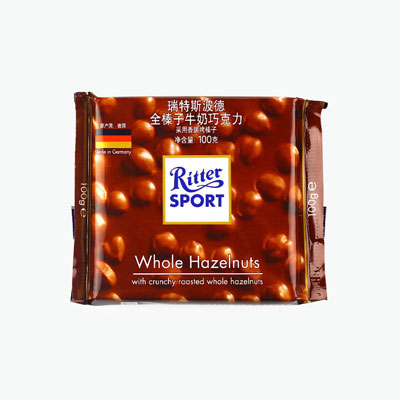 Ritter Sport, Milk Chocolate With Whole Hazelnuts 100g