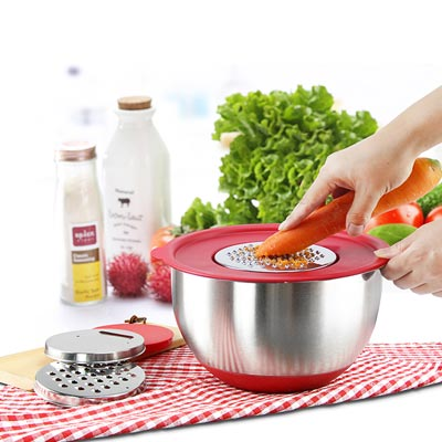 RORENCE Stainless Steel Mixing Bowl with Grater Attachments