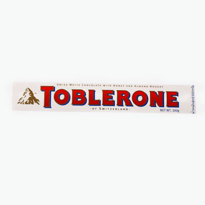 Toblerone, White Chocolate with Honey and Almond Nougat 100g