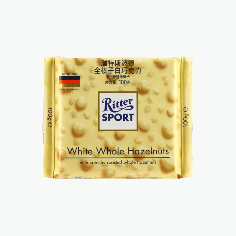 Ritter Sports, White Whole Hazelnuts Chocolate 100g