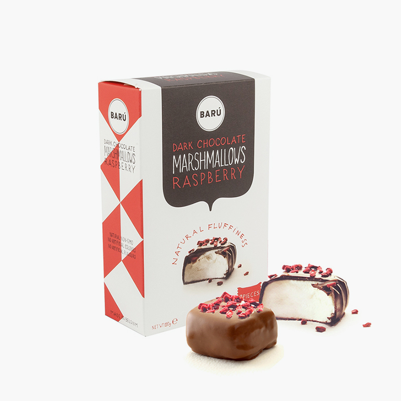 Baru, Dark Chocolate & Raspberry Covered Marshmallows 120g