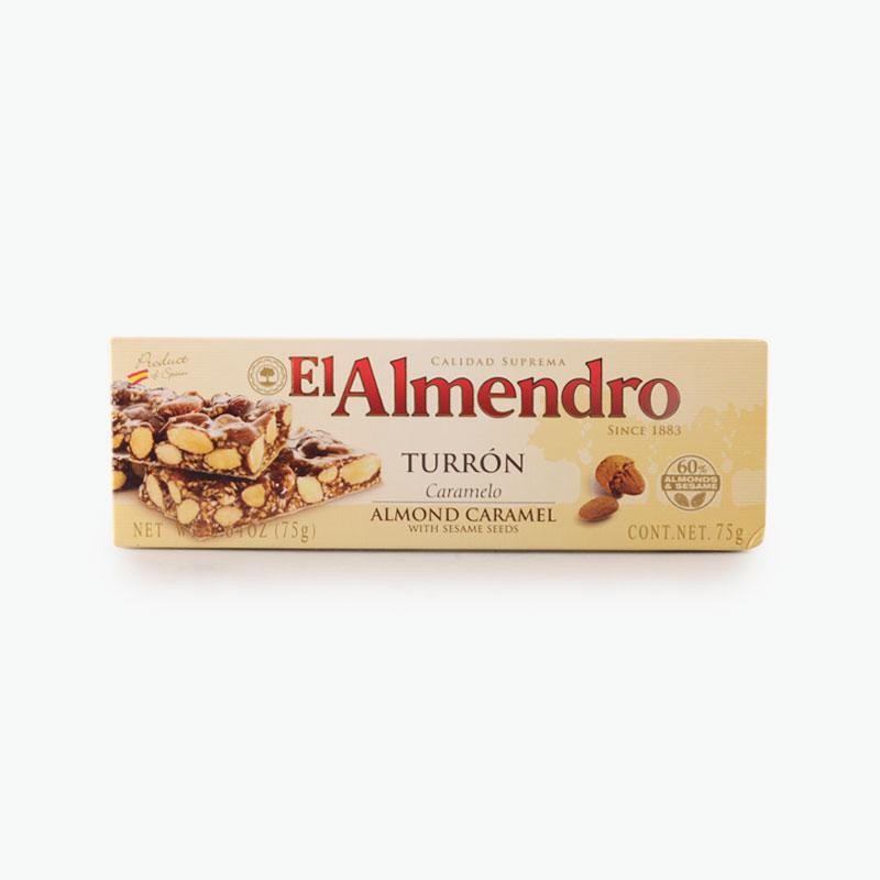 El Almendro, Crunchy Almond Caramel Turron With Sesame Seeds 75g