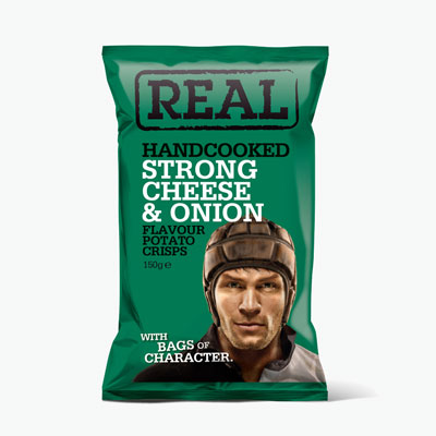 Real, Hand Cooked Potato Crisp (Strong Cheese & Onion) 150g