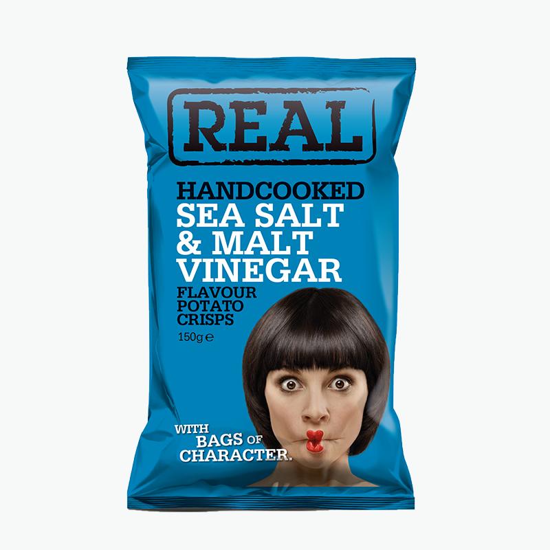 Real, Hand Cooked Potato Crisp (Sea Salt & Malt Vinegar) 150g