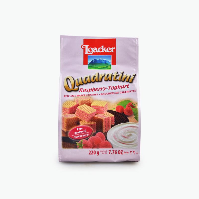 Loacker, 'Quadratini' Bite Size Wafer Cookies (Raspberry Yogurt) 220g