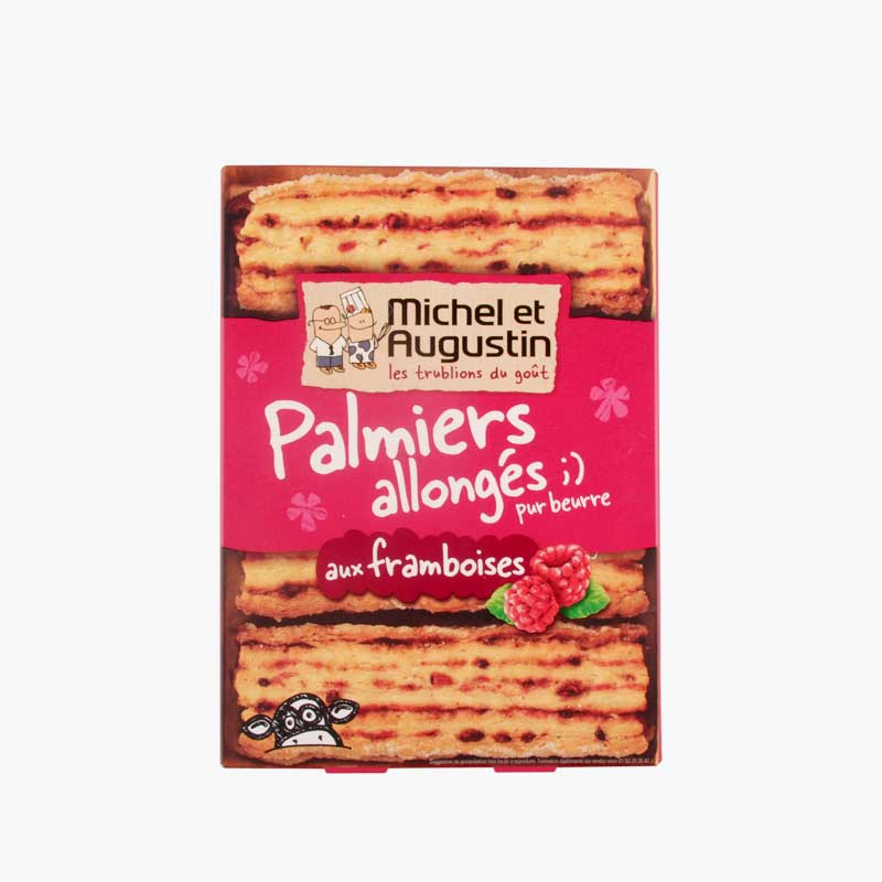 Michel et Augustin Extra Long Puff Palmiers with Raspberries 120g
