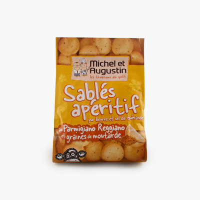 Michel et Augustin Small Shortbread Cookies with Parmesan Cheese and Mustard Seed 120g