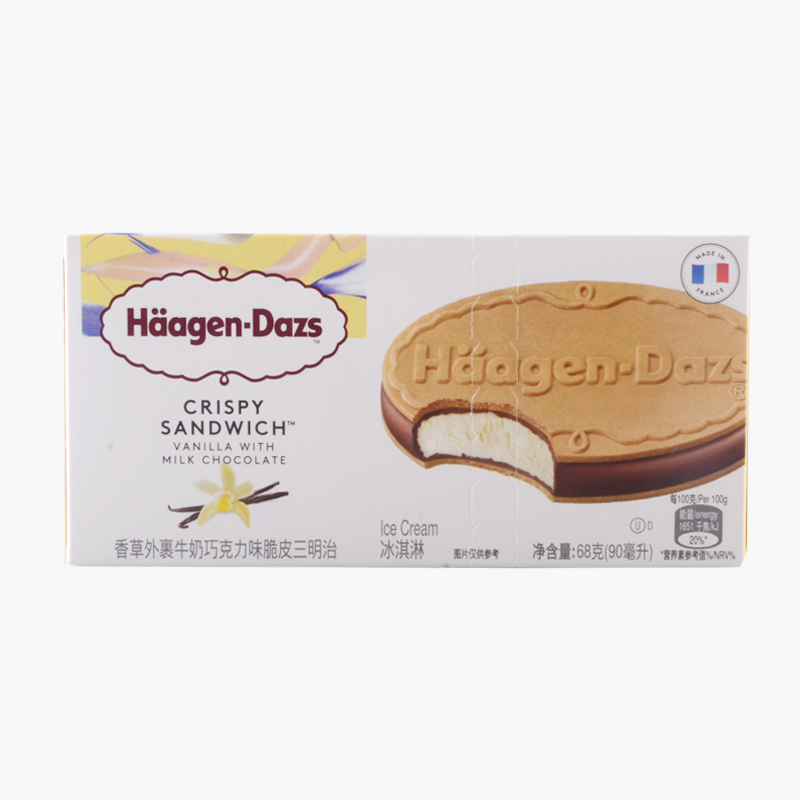 Häagen-Dazs, Crispy Ice Cream Sandwich (Vanilla with Milk Chocolate) 68g