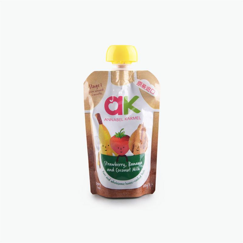 Banana Apple Strawberry and Coconut Milk Puree 100g