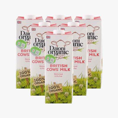 Daioni Organic Skimmed Cow's Milk 1Lx6