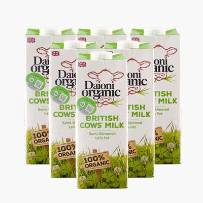 Daioni Organic Semi Skimmed Cow's Milk 1Lx6