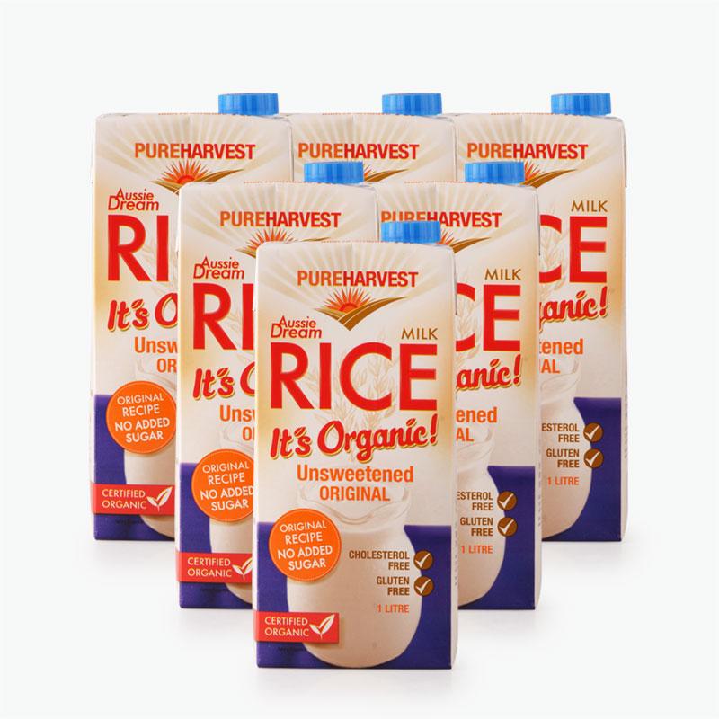 Pureharvest Organic Unsweetened Rice Milk 1L x6