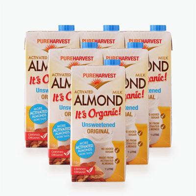 Pureharvest Unsweetened Activated Almond Milk 1L x6
