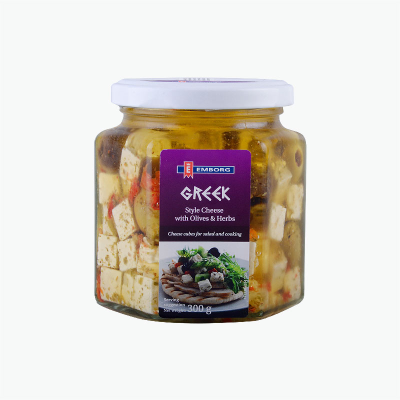 Emborg Greek Style Cheese Cubes with Olives and Herbs 300g