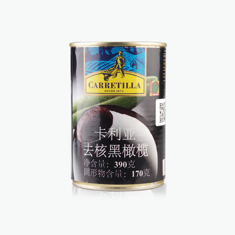 Carretilla, Pitted Black Olives 390g