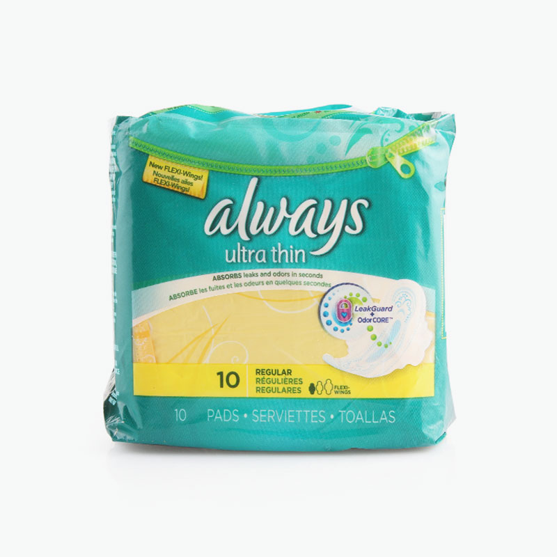 Always, 'Ultra Thin' Regular Pads with Wings x10