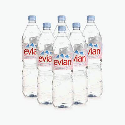 Evian Still Natural Mineral Water 1.5L x6
