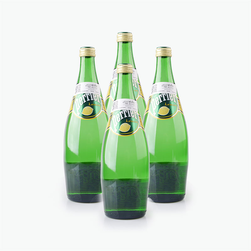 Perrier, Sparkling Natural Mineral Water (Lemon) 750ml x4