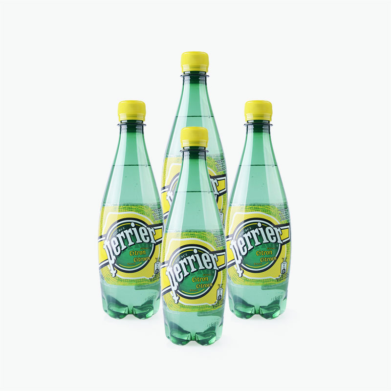 Perrier, Sparkling Natural Mineral Water (Lemon) 500ml x4