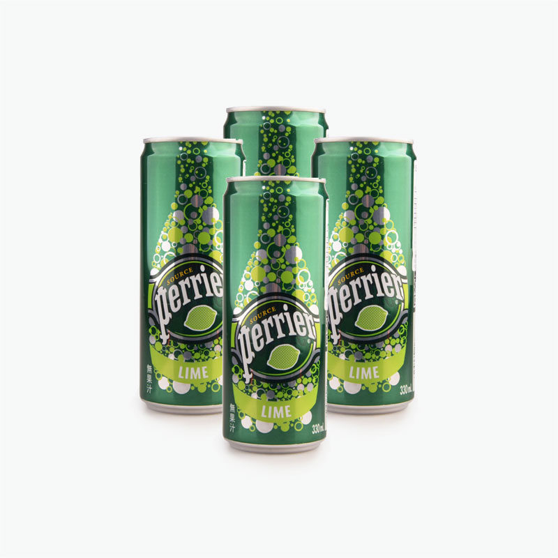 Perrier, Sparkling Natural Mineral Water (Lime) 330ml x4
