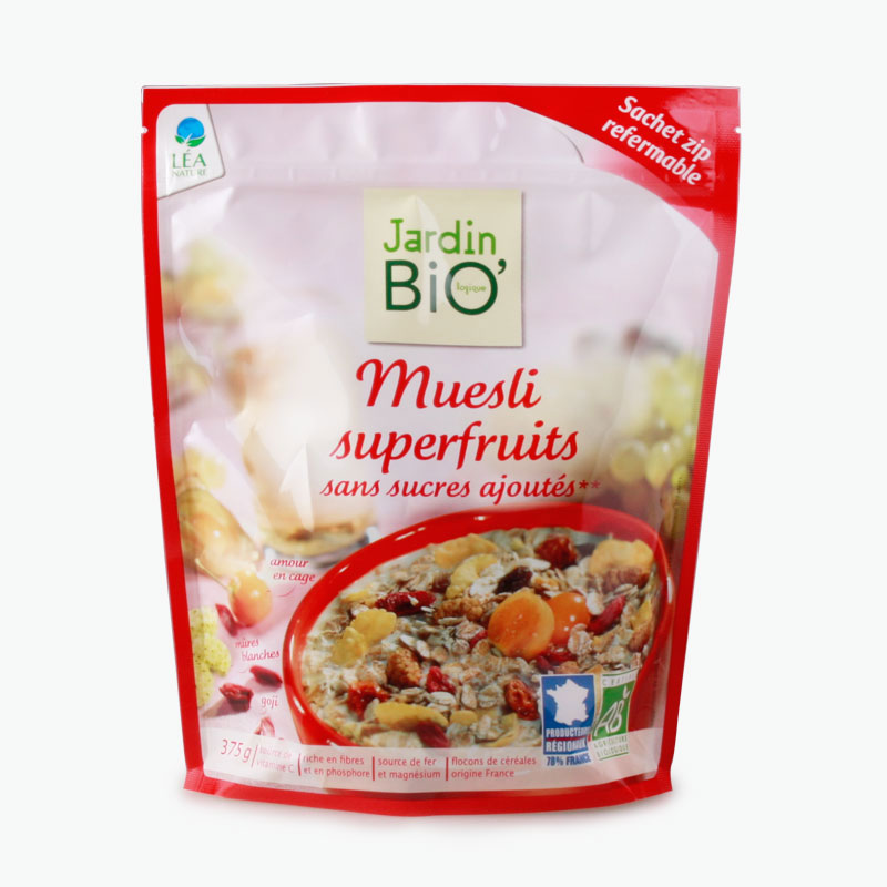 jardin bio superfruits muesli no added sugar 375g - Jardin Bio