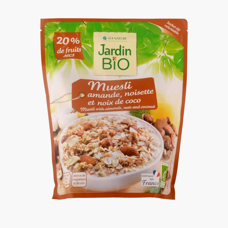 Jardin Bio Muesli with Almonds,Nuts and Coconut 375g
