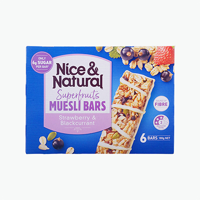 Nice & Natural Strawberry & Blackcurrant Cereal Bar x6 180g