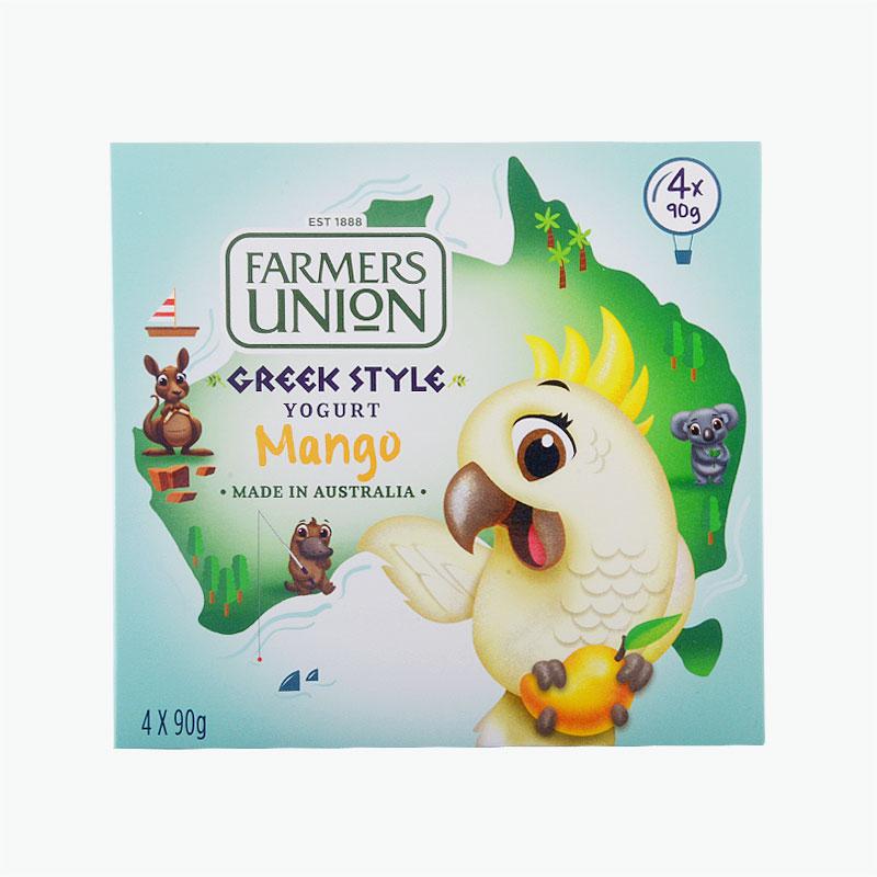Farmers Union, Greek Style Yogurt (Mango) 90g x4