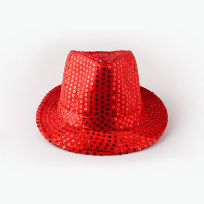 Bright Red Sequined Hat 1pcs