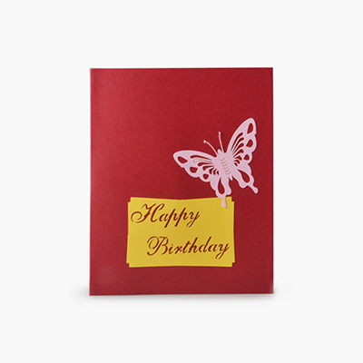 3D Birthday Card (Red Butterfly) x1