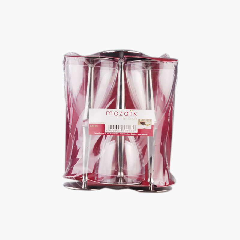 Sabert, Clear Disposable Wine Glasses with Silver Base x6