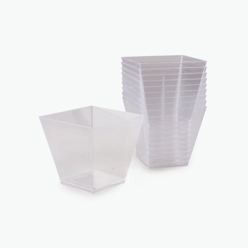 Trapezoidal Disposable Dessert Dishes (Transparent) x10