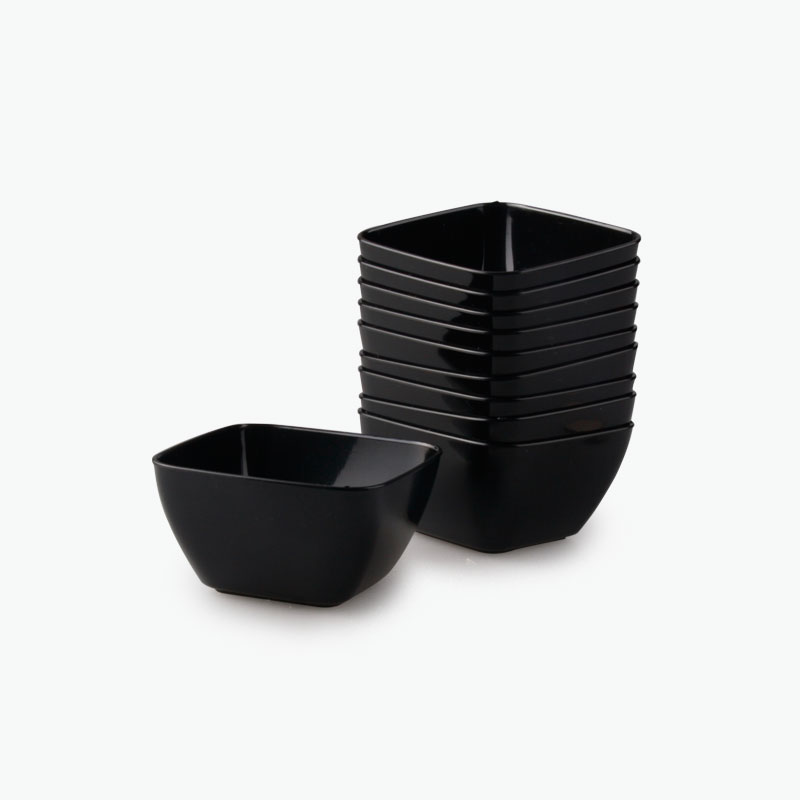 Disposable Mini Dessert Dishes (Black) x10