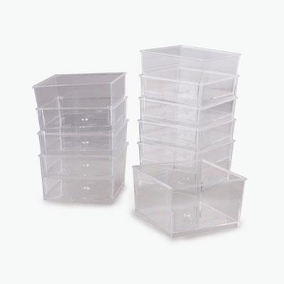 Rectangular Disposable Dessert Dishes (Transparent) x10