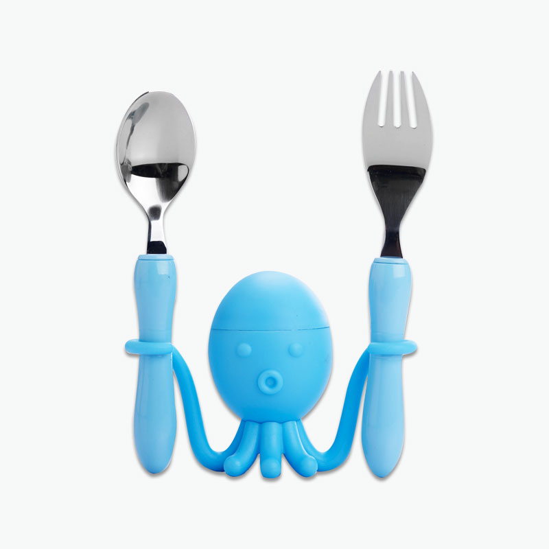 Think Kitchen, Spoon & Fork Set with Octopus Holder x3
