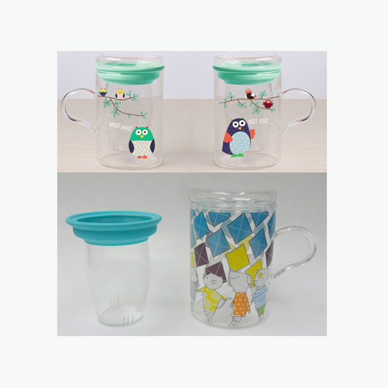 Think Kitchen, Owl/Cat Glass Mug/Filter/Cover x3