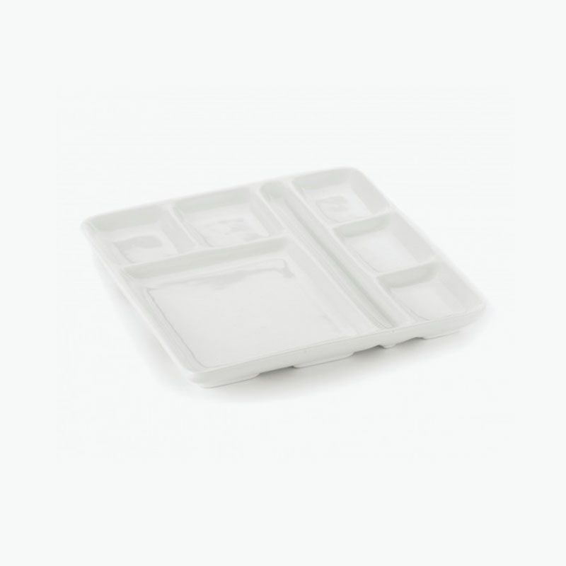 Think Kitchen, Square White Fondue Plate with Fork Rest