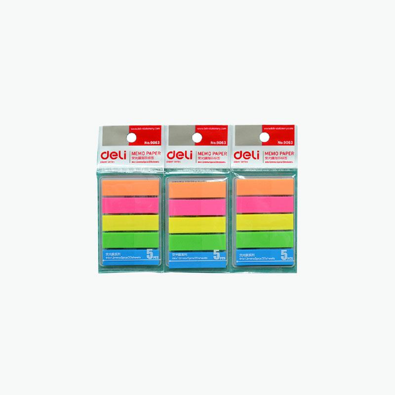 Deli, Fluorescent Sticky Note Tabs x20/pad x5