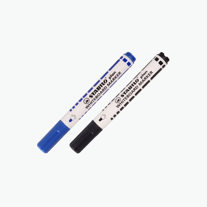 Stabilo, Whiteboard Markers (Black & Blue) x2
