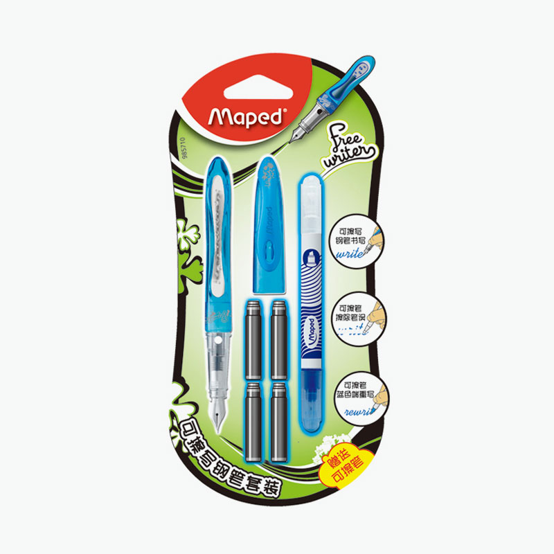 Maped, Freewriters Fountain Pen Kit (Pen x1, Erasable Blue Ink Cartridges x4, and Corrector Pen x1)