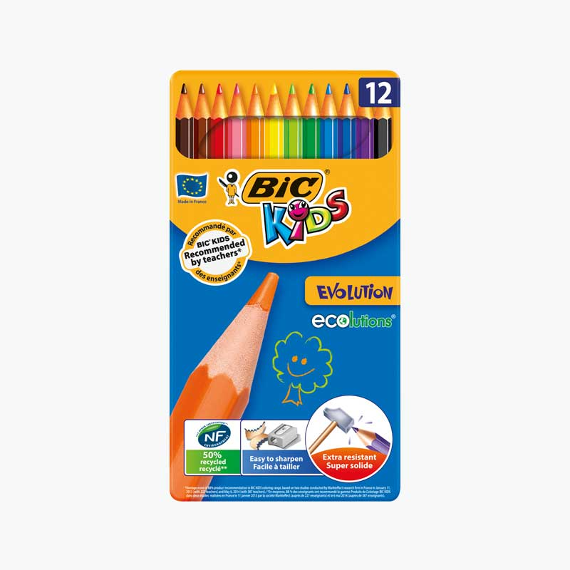 BIC 12 Color Pencils in Metal Box
