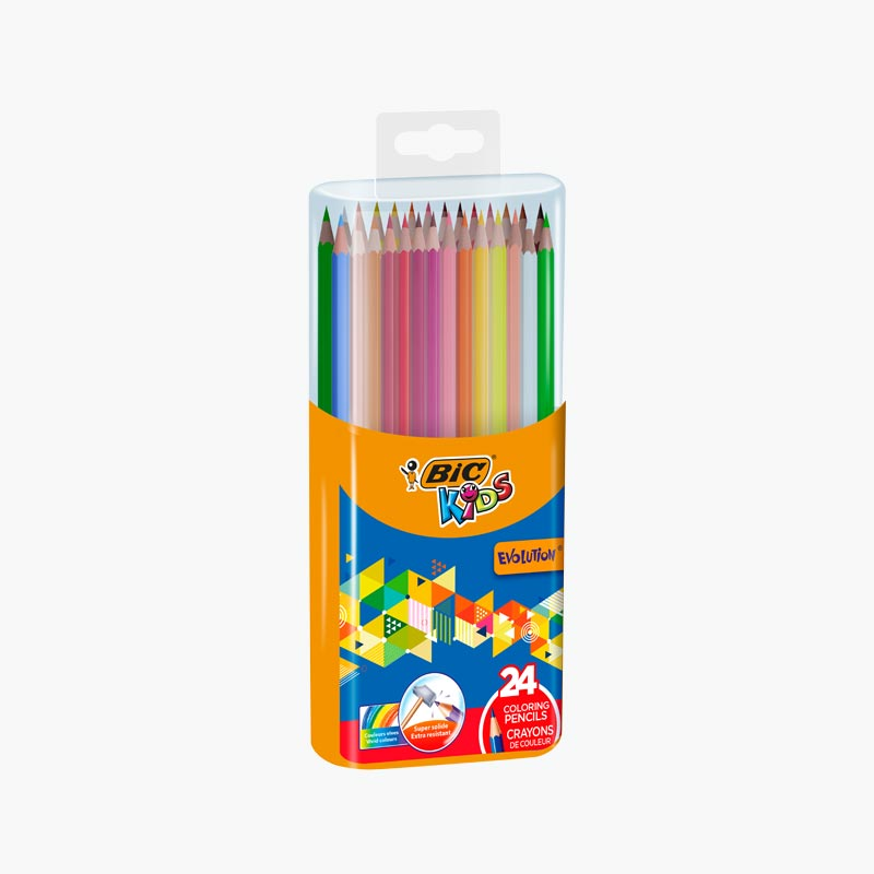 BIC 24 Color Pencils in Plastic Box