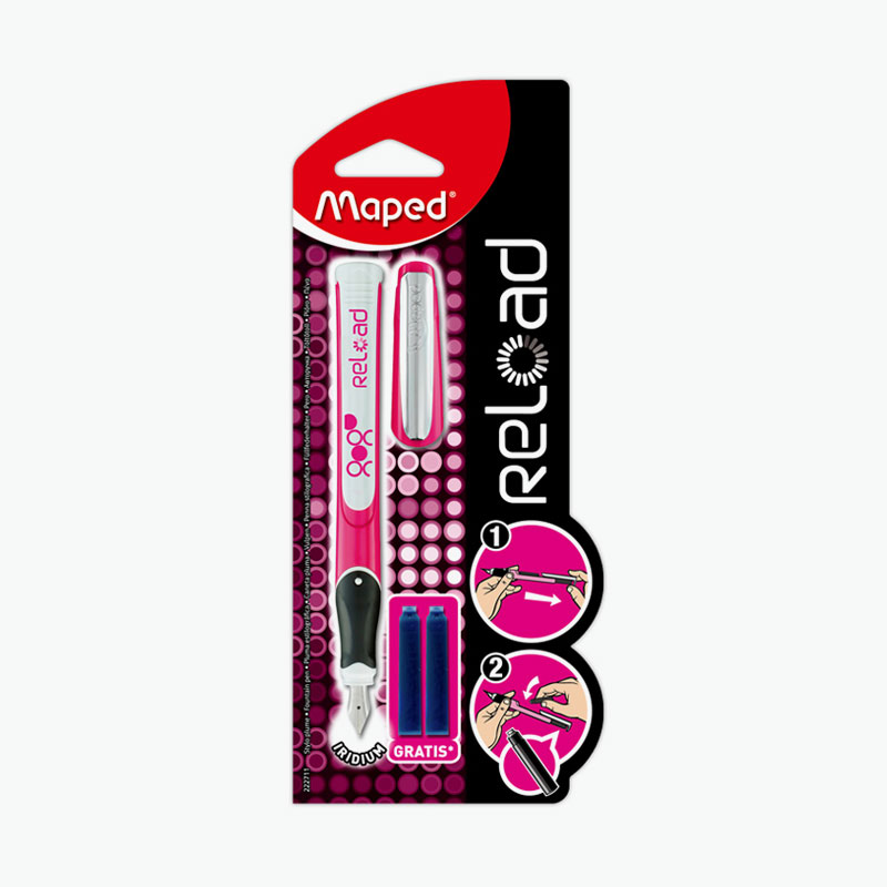Maped, Reload Fountain Pen Kit (Pink/White Pen x1 and Blue Ink Cartridges x2)