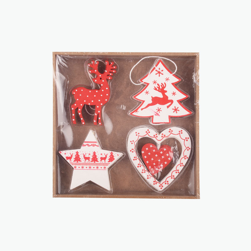 Red & White Wooden Ornaments 7cm x8 (Reindeer, Star, Heart, Tree)
