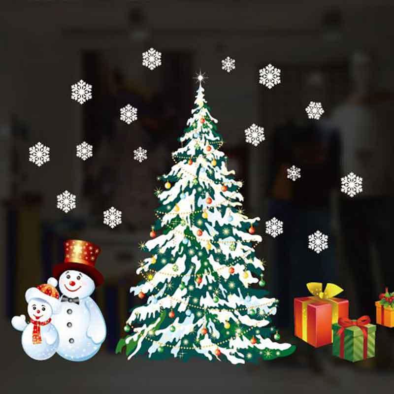 Christmas Tree and Snowman Window Sticker 1pc