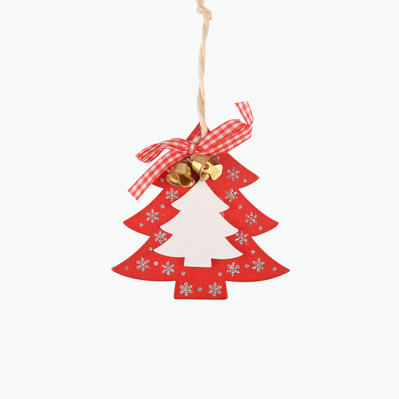 Wooden Red Tree Ornament 9cm